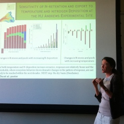 Dr. Tague discussing some our lab's research relevant to the Bioearth project