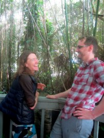 Naomi Tague and Ciaran Harman in the rainforest biome inside Biosphere2